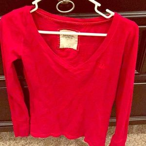 Abercrombie red shirt size Small long sleeve